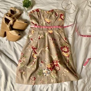 Khaki strapless floral dress